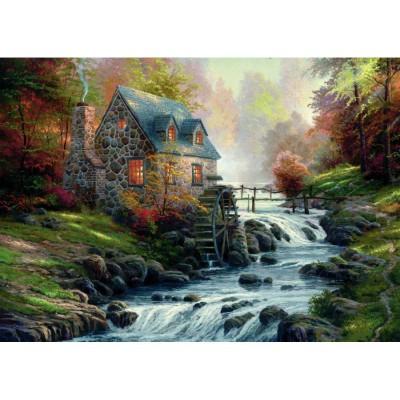 Puzzle  Schmidt-Spiele-57486 Thomas Kinkade: Bei der alten Mühle