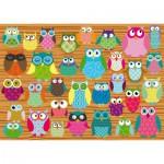 Puzzle  Schmidt-Spiele-58196 Eulen-Collage