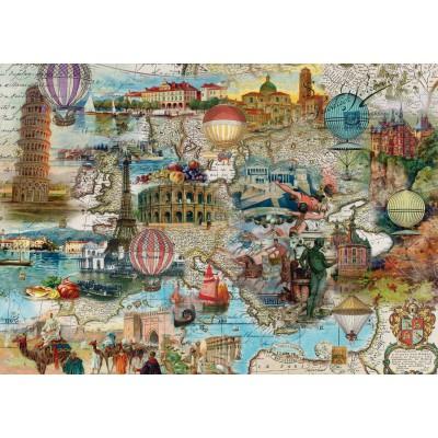 Puzzle  Schmidt-Spiele-58205 Ballonfahrt durch Europa