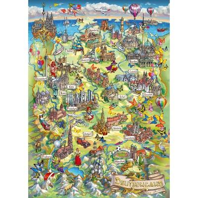 Puzzle  Schmidt-Spiele-58330 Illustrierte Deutschlandkarte