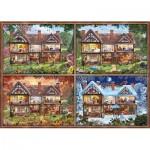 Puzzle  Schmidt-Spiele-58345 Jahreszeiten Haus