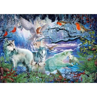 Puzzle  Schmidt-Spiele-58349 Wölfe im Winterwald
