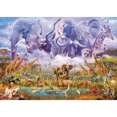 Puzzle  Schmidt-Spiele-58356 Tiere an der Wasserstelle