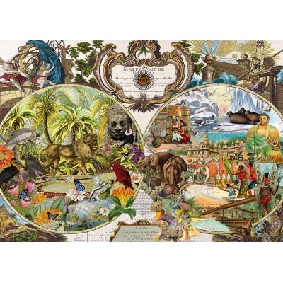 Puzzle  Schmidt-Spiele-58362 Exotische Weltkarte