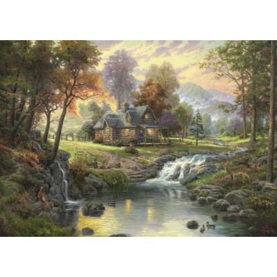 Puzzle  Schmidt-Spiele-58445 Thomas Kinkade: Holzhaus am Bach