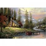Puzzle  Schmidt-Spiele-58455 Thomas Kinkade: Haus in den Bergen