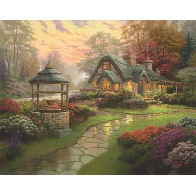 Puzzle  Schmidt-Spiele-58463 Thomas Kinkade: Haus mit Brunnen