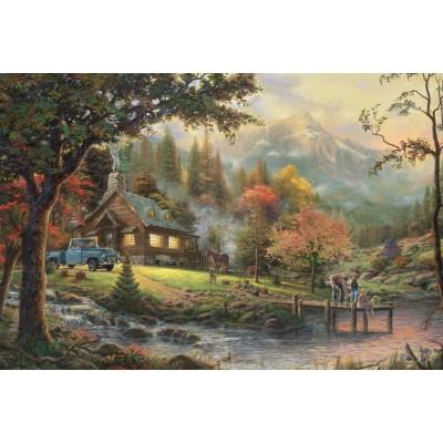 Puzzle  Schmidt-Spiele-58465 homas Kinkade: Idylle am Fluss