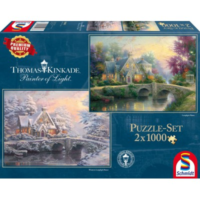 Schmidt-Spiele-59468 2 Puzzles - Thomas Kinkade, Winter in Lamplight Manour