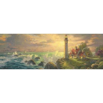 Puzzle  Schmidt-Spiele-59477 Thomas Kinkade - Leuchtturm-Idylle