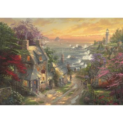 Puzzle  Schmidt-Spiele-59482 Thomas Kinkade - Dörfchen am Leuchtturm