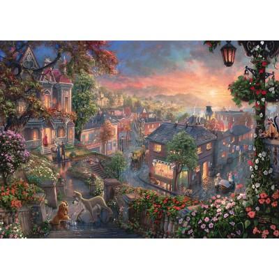 Puzzle  Schmidt-Spiele-59490 Thomas Kinkade - Disney - Susi und Strolch