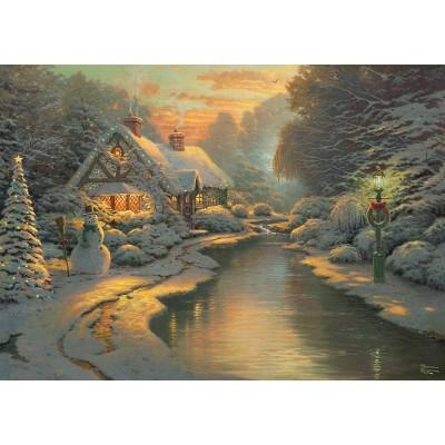 Puzzle  Schmidt-Spiele-59492 Thomas Kinkade - Am Weihnachtsabend