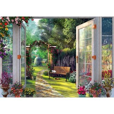 Puzzle  Schmidt-Spiele-59592 Dominic Davison - Blick in den Verwunschenen Garten
