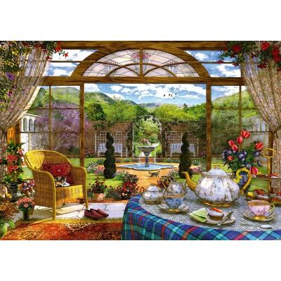 Puzzle  Schmidt-Spiele-59593 Dominic Davison - Blick aus dem Wintergarten