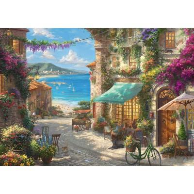 Puzzle  Schmidt-Spiele-59624 Thomas Kinkade - Café an der italienischen Riviera