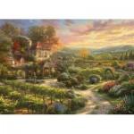 Puzzle  Schmidt-Spiele-59629 Thomas Kinkade - In den Weinbergen