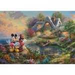 Puzzle  Schmidt-Spiele-59639 Thomas Kinkade, Disney-Sweethearts Mickey & Minnie