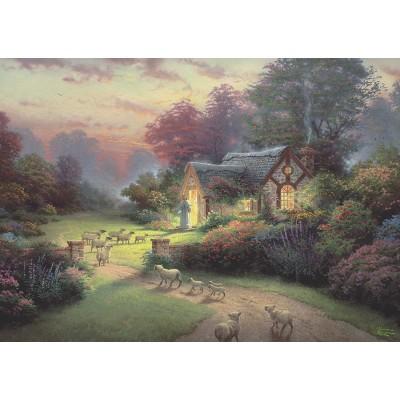 Puzzle  Schmidt-Spiele-59678 Thomas Kinkade, Spirit, Cottage des Guten Hirten