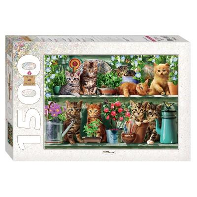 Puzzle Step-Puzzle-83057 Kätzchen im Regal