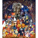 Puzzle  Sunsout-21893 XXL Teile - Cats and Dogs on Halloween