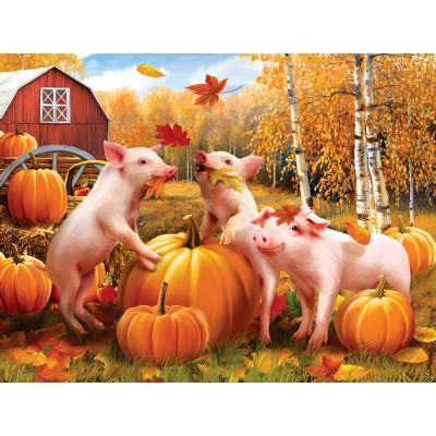 Puzzle  Sunsout-28657 XXL Teile - Pigs & Pumpkins