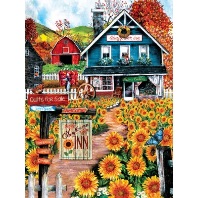 Puzzle  Sunsout-28776 Tom Wood - At the Sunflower Inn
