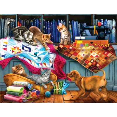 Puzzle  Sunsout-28832 Tom Wood - Quilting Room Mischief