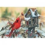 Puzzle  Sunsout-30624 Janene Grende - Cardinal's Rustic Retreat