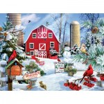 Puzzle  Sunsout-35013 XXL Teile - A Snowy Day on the Farm