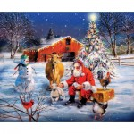 Puzzle  Sunsout-37996 XXL Teile - Santa at the Farm