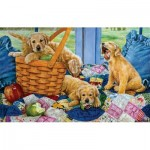 Puzzle  Sunsout-44301 Susan Brabeau - Puppies in a Basket