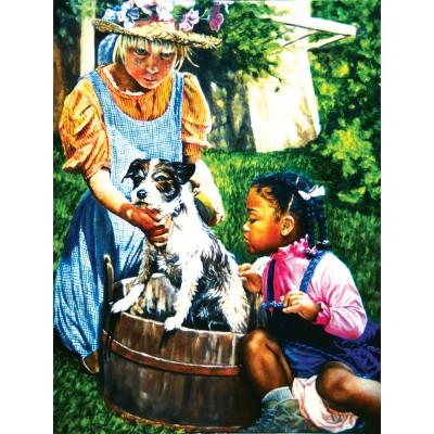 Puzzle Sunsout-44320 XXL Teile - Washing the Dog