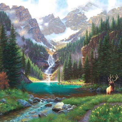 Puzzle  Sunsout-52982 Mark Keathley - Elk at the Waterfall