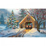 Puzzle  Sunsout-53015 XXL Teile - Covered Bridge at Christmas