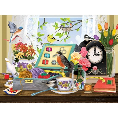 Puzzle  Sunsout-55031 Ashley Davis - Sewing Kit and Teacup