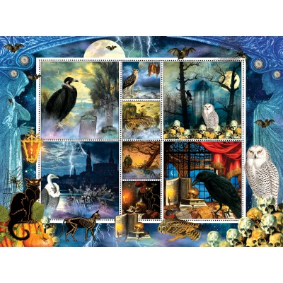 Puzzle  Sunsout-55926 Finchley Paper Arts - Halloween Stamps Spooky