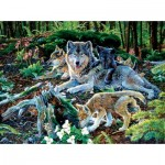 Puzzle  Sunsout-60506 Jan Martin Mcguire - Forest Wolf Family