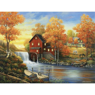 Puzzle Sunsout-62118 XXL Teile - John Zaccheo - Sunset at the Old Mill