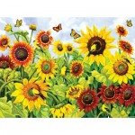 Puzzle  Sunsout-62994 Nancy Wernersbach - Sunflowers & Goldfinches