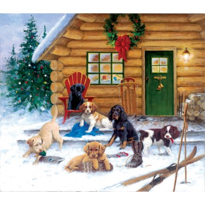Puzzle  Sunsout-73410 Jim Killen - Christmas at the Cabin