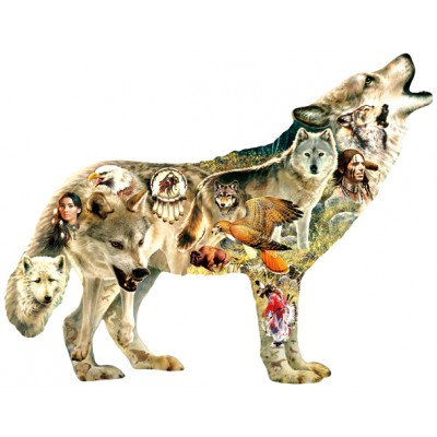 Puzzle  Sunsout-96049 XXL Teile - Greg Giordano - Native American Wolf