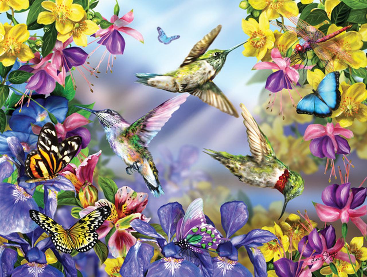 puzzle xxl teile  butterflies  hummingbirds sunsout