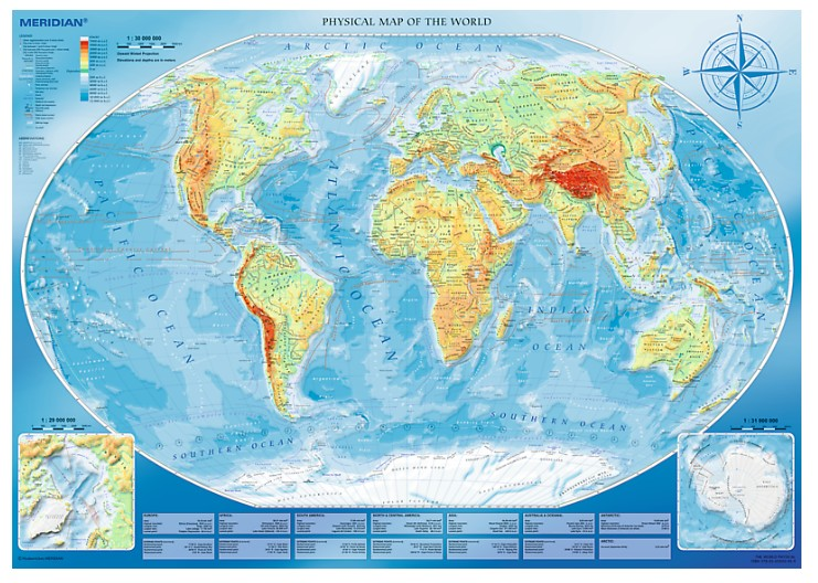 Puzzle Large Physical Map of the World Trefl-45007 4000 Teile Puzzle ...