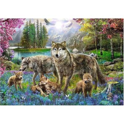 Puzzle  Trefl-10558 Wolfsfamilie