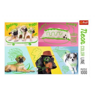Puzzle Trefl-10578 Neon Color Line - Hunde