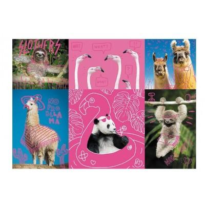 Puzzle  Trefl-10594 Neon Color Line - Crazy Pets