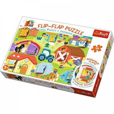 Trefl-14271 Flip Flap Puzzle - Bauernhof