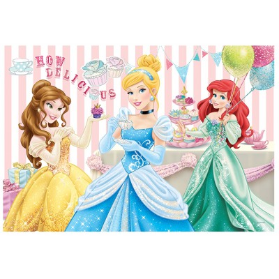 Trefl-14802 Extragroße Puzzleteile mit Pailletten - Disney Prinzessinnen