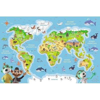 Puzzle  Trefl-15552 Weltkarte (auf Polnisch)
